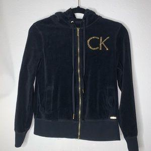 3/$20🔥Calvin Klein Velvet zip up hoodie